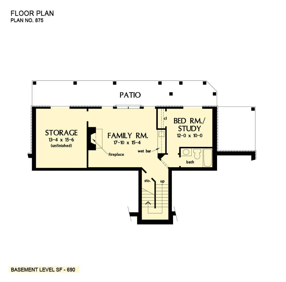 Basement floor plan with a flexible bedroom/study, family room, and unfinished storage space.