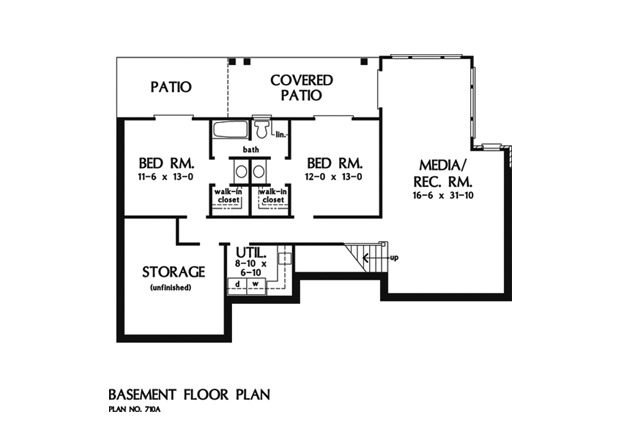 Basement floor plan with two bedrooms, a media/recreation room, utility room, and large storage space.