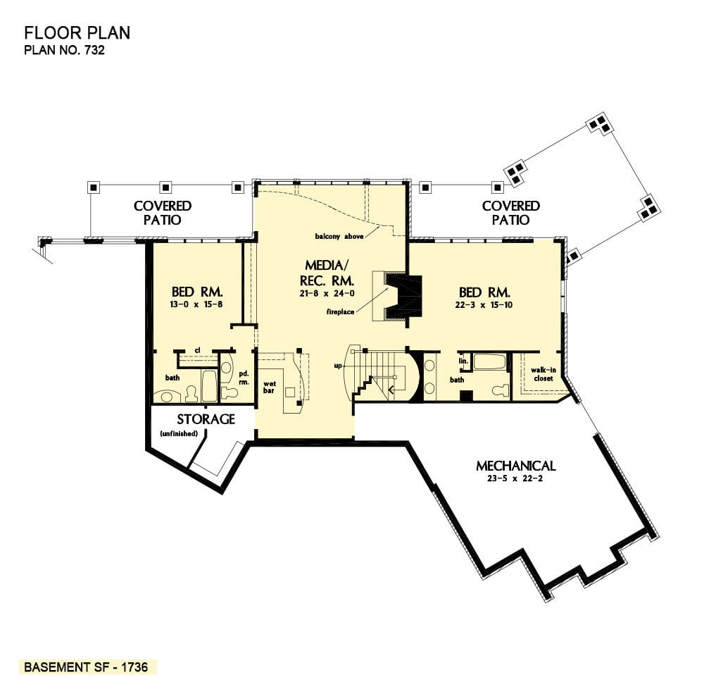 Basement floor plan with two bedrooms, and a large media/recreation room complete with a fireplace and a wet bar.