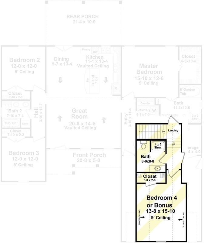 Bonus level floor plan with a closet and a full bath.