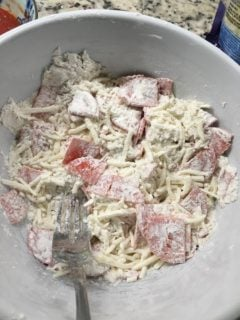 The ingredients are mixed in a large bowl.