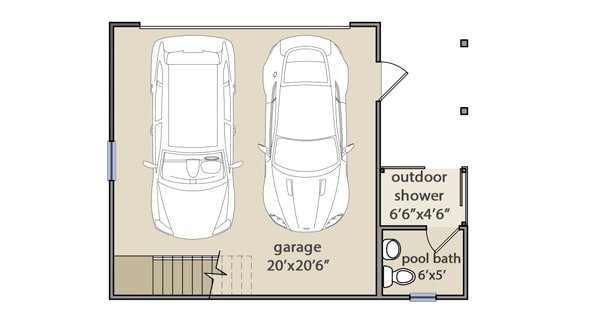 Detached garage floor plan with an outdoor shower and a pool bath.