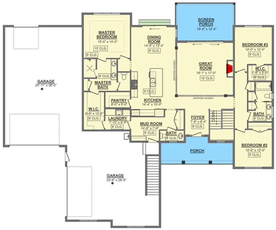 Entire floor plan of a single-story 3-bedroom craftsman home with front and screened porches, foyer, great room, kitchen, dining room, laundry room, mudroom leading to the garage, and three bedrooms including the primary suite.