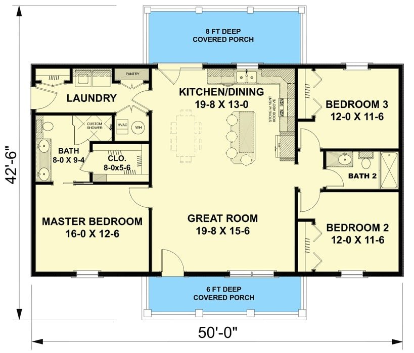 Entire floor plan of a single-story 3-bedroom Southern country home with front and rear porches, great room, shared dining and kitchen, laundry room, and three bedrooms.