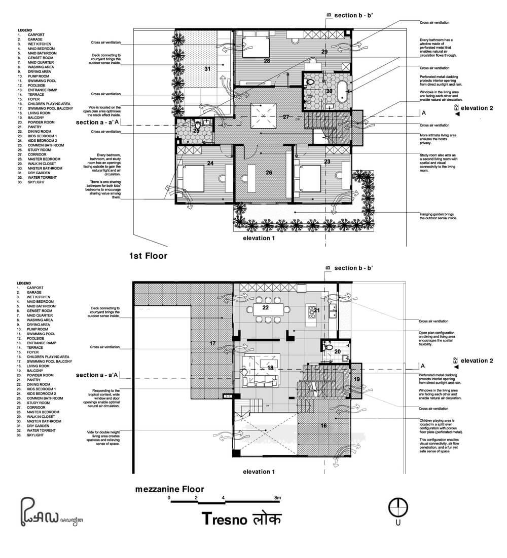 This is the illustration of the first level floor plan of the house.