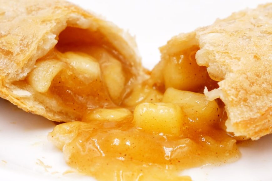 A close look at a fried apple hand pie.