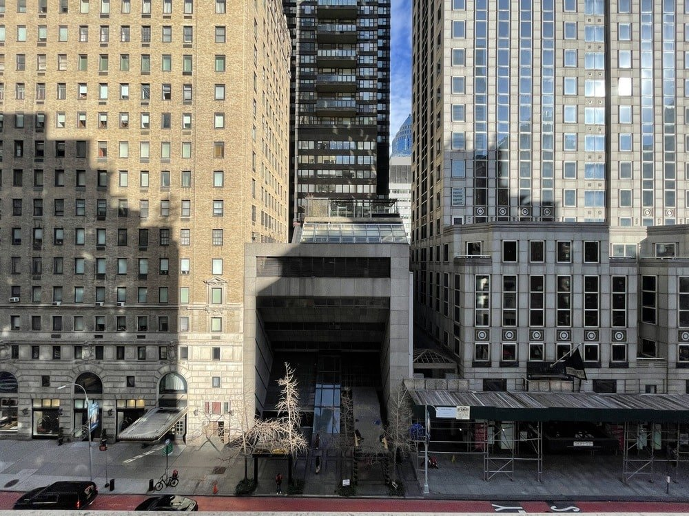 This is a far off view of the building exterior showcasing the area and its large buildings. Image courtesy of Toptenrealestatedeals.com.