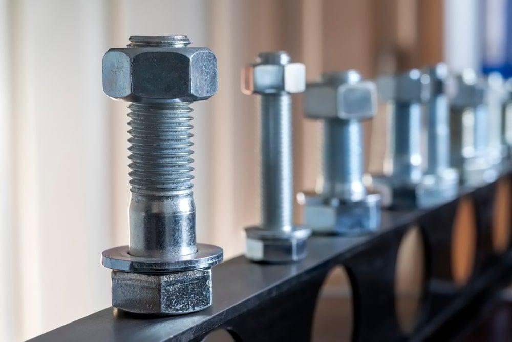 A close look at various screws and bolts.