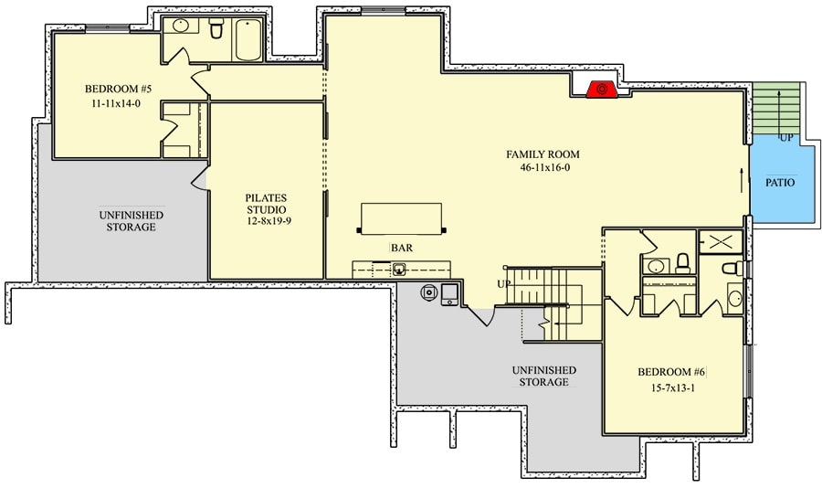 Lower level floor plan with two bedrooms, pilates studio, and a family room with a wet bar.