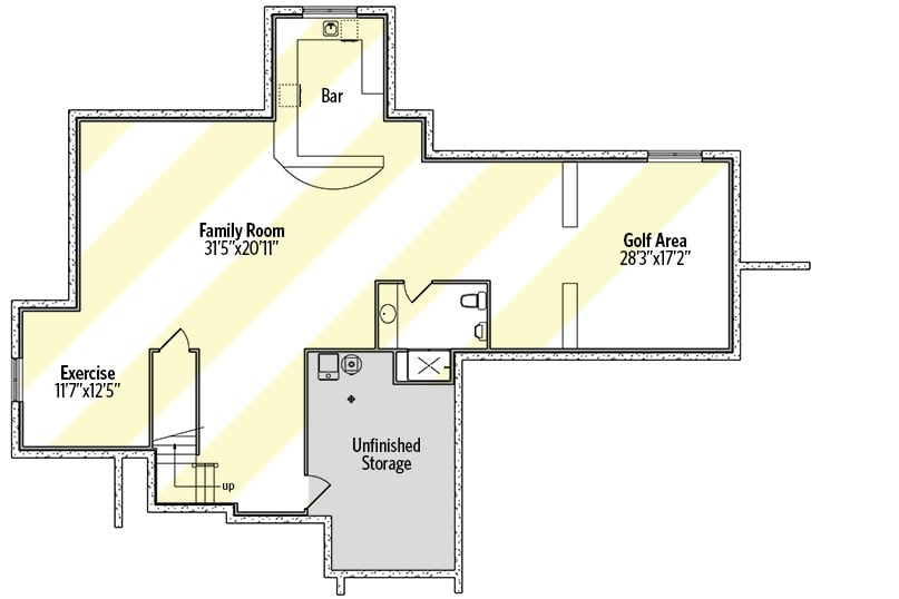Lower level floor plan with a massive family room, exercise room, wet bar, and a golf area.
