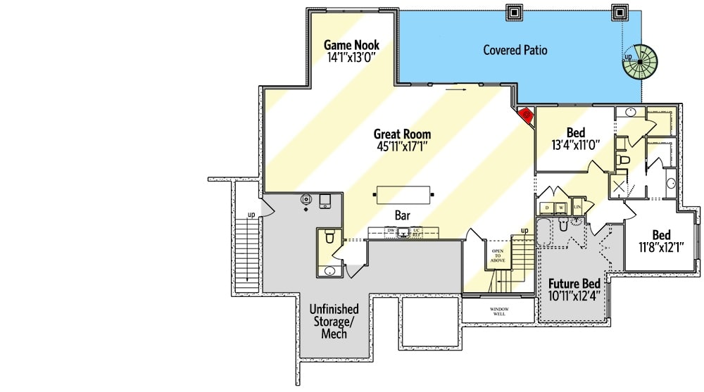 Lower level floor plan with three bedrooms and a massive great room with a wet bar and a game nook.