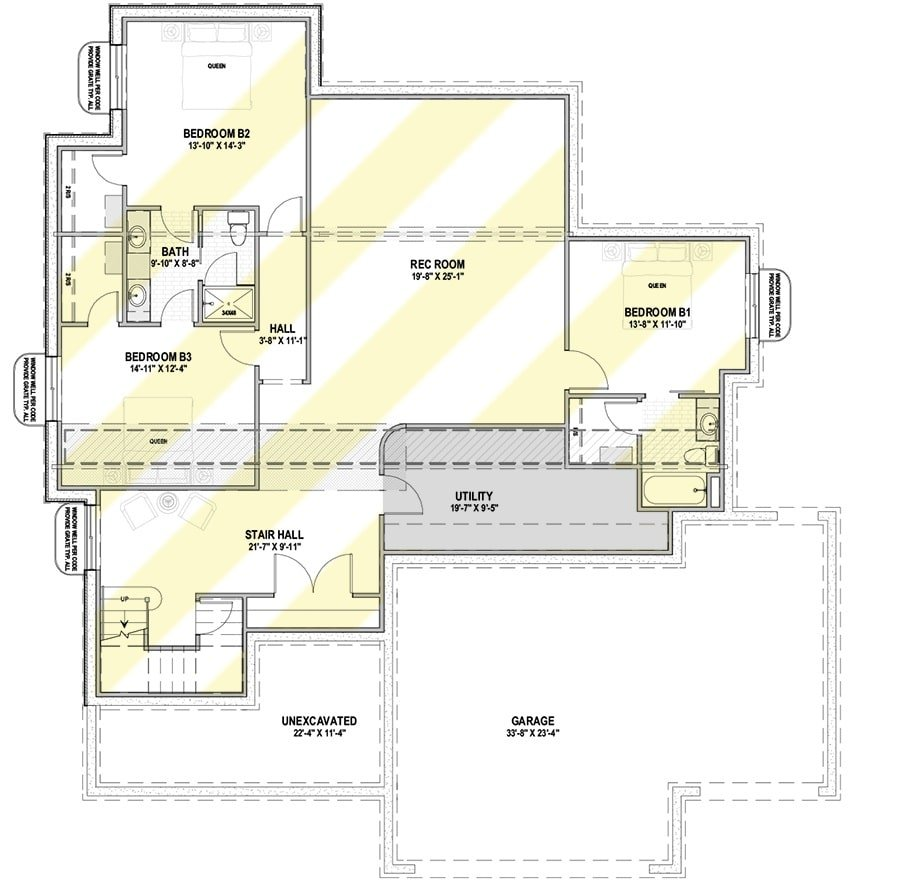 Lower level floor plan with three bedroom suites and a huge rec room.
