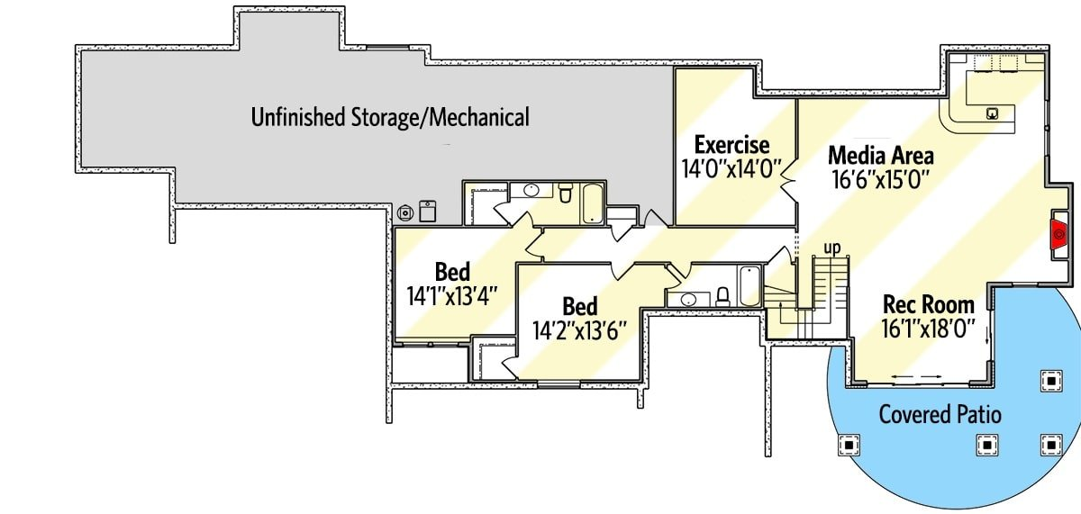 Lower level floor plan complete with two bedrooms, exercise room, media room, and recreation room.