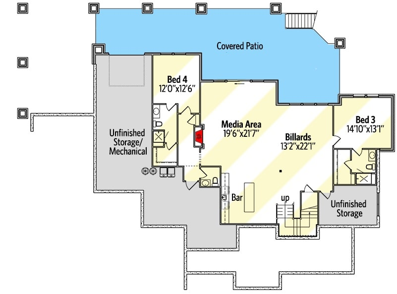 Lower level floor plan with two bedrooms, billiards area, and a media area with a wet bar.