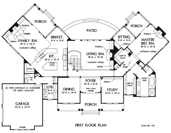 Main level floor plan of a 3-bedroom two-story craftsman style The Amherst home with entry porch, foyer, formal dining room, study, living room, kitchen with breakfast nook, family room, primary suite, and plenty of outdoor spaces.