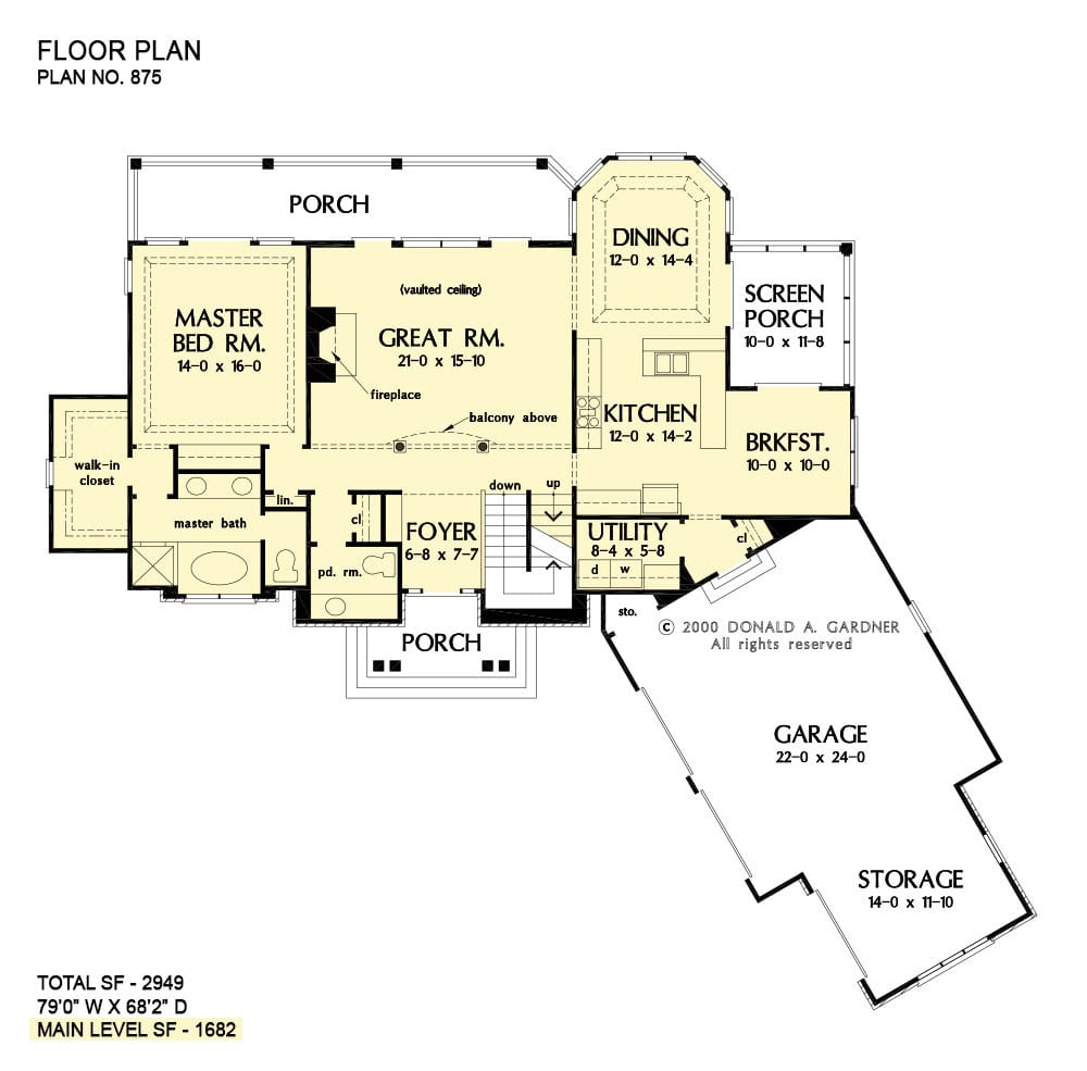 Main level floor plan of a 4-bedroom three-story The Rockledge craftsman home with front and rear porches, foyer, great room, dining room, kitchen, breakfast nook that extends to the screened porch, primary suite, and a utility room leading to the angled garage.