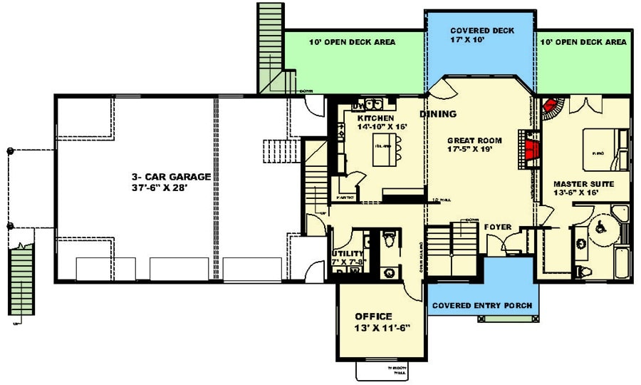 Main level floor plan of a 4-bedroom two-story country home with front and rear porches, foyer, great room, dining area, kitchen, office, utility room, and primary suite.