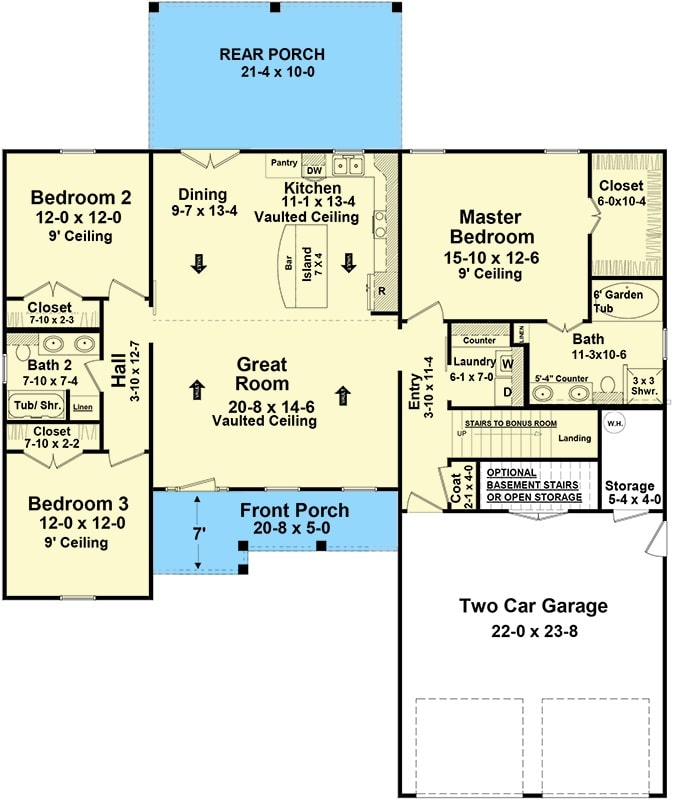 Main level floor plan of a 4-bedroom two-story country home with front and rear porches, great room, kitchen, dining area, three bedrooms, and a double garage with storage space.