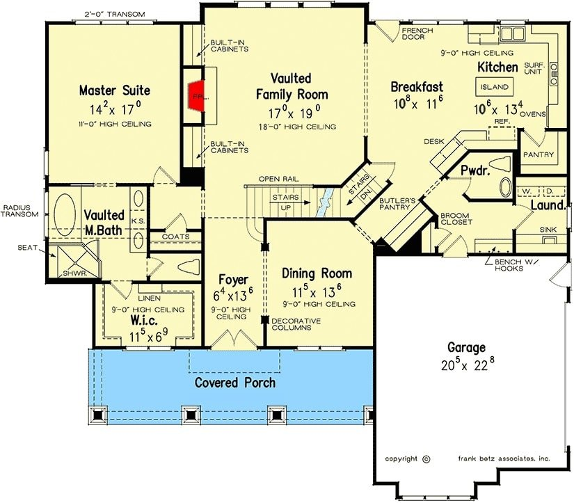 Main level floor plan of a 4-bedroom two-story craftsman style home with entry porch, foyer, formal dining room, family room, kitchen with breakfast area, primary suite, laundry room, and a mudroom leading to the double garage.