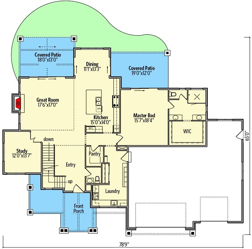 Main level floor plan of a 4-bedroom two-story New American craftsman home with foyer, great room, dining area, kitchen, study, primary bedroom, laundry room, and plenty of outdoor spaces.