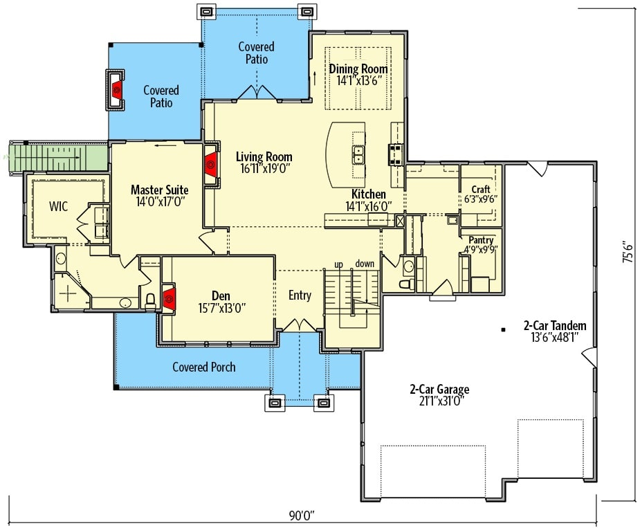 Main level floor plan of a 4-bedroom two-story New American home with front and rear porches, foyer, living room, kitchen, dining area, primary suite, craft room, and a mudroom leading to the oversized garage.