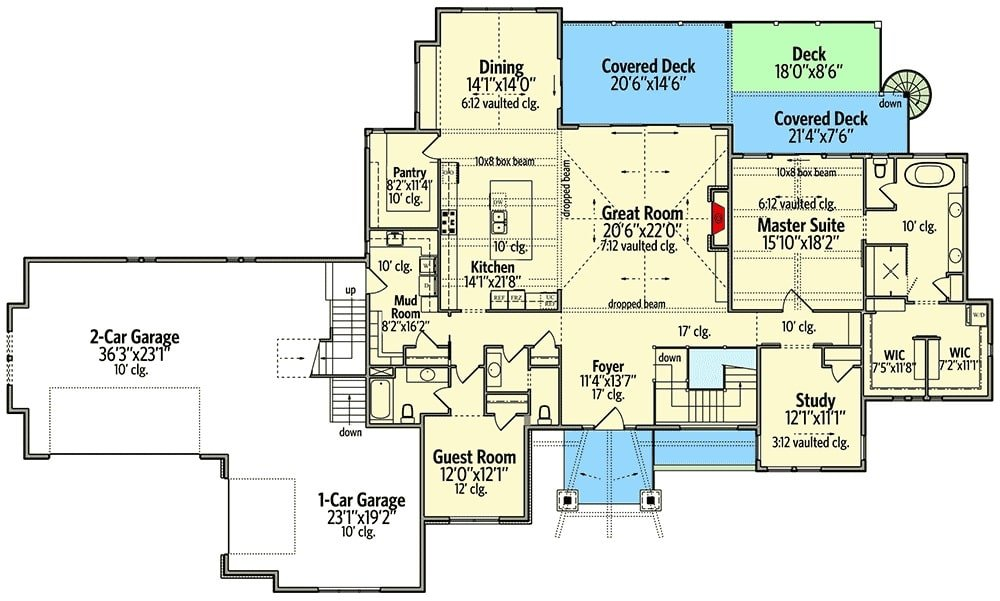 Main level floor plan of a 5-bedroom single-story modern mountain home with front and rear porches, foyer, great room, kitchen, dining area, study, mudroom, and two bedrooms including the primary suite and the guest room.