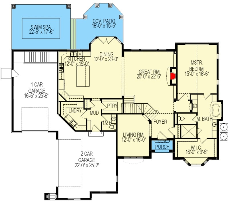 Main level floor plan of a 5-bedroom two-story French country home with foyer, living room, great room, dining area, kitchen, primary suite, laundry room, and a mudroom leading to the 3-car garage.