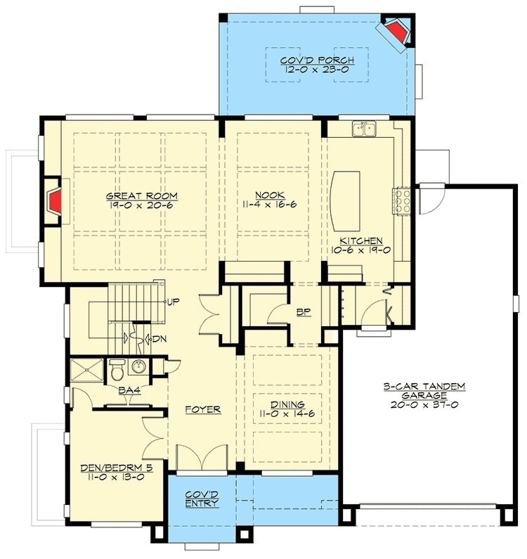 Main level floor plan of a 6-bedroom two-story craftsman home with front and rear porches, foyer, great room, formal dining room, kitchen with breakfast nook, den/bedroom, and a mudroom leading to the three-car garage.
