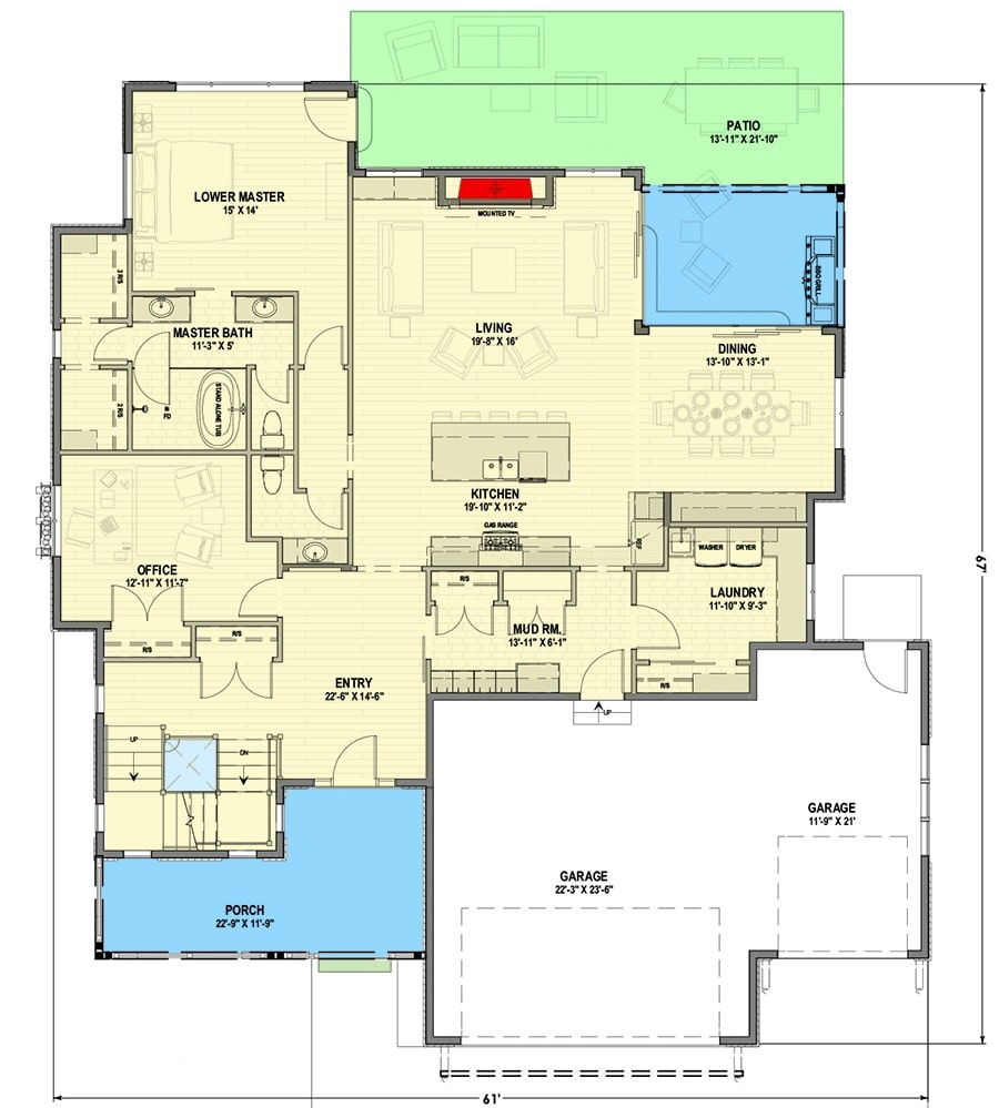 Main level floor plan of a 7-bedroom two-story Northwest shingle home with front and rear porches, foyer, office, kitchen, living area, dining room, primary suite, laundry room, and mudroom leading to the garage.