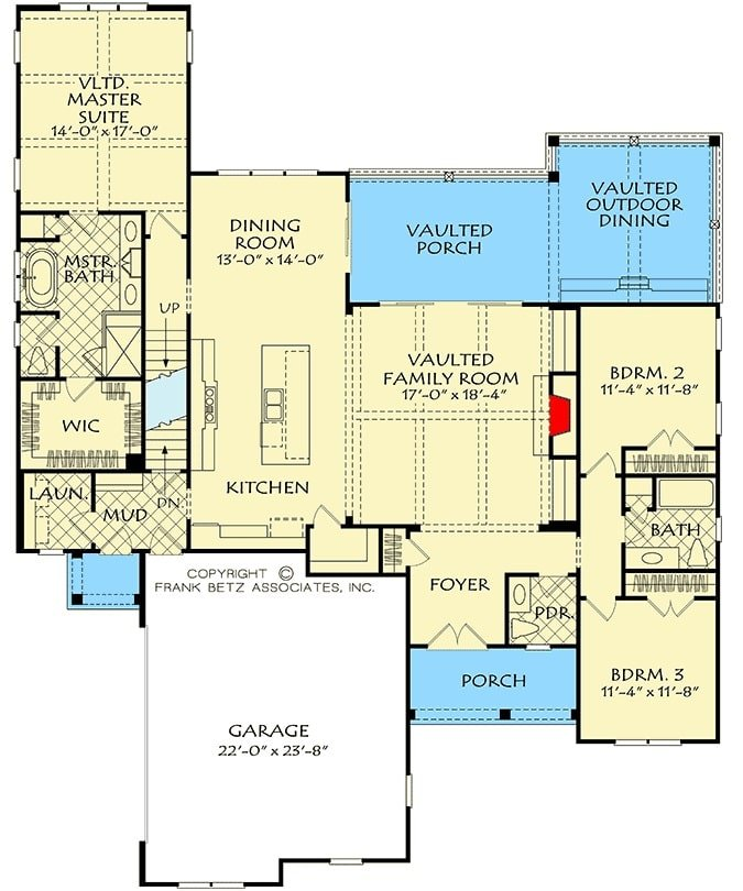 Main level floor plan of a two-story 4-bedroom country home with front and rear porches, foyer, family room, kitchen, dining area, and three bedrooms including the primary suite.