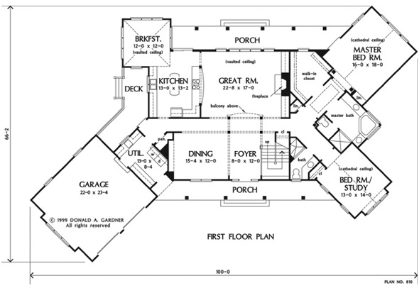 Main level floor plan of a two-story 4-bedroom craftsman style The Chanticleer home with front and rear porches, foyer, formal dining room, great room, kitchen with breakfast nook, utility room leading to the garage. and two bedrooms including the primary suite and the flexible study.