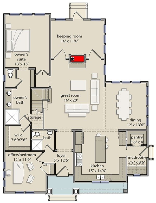 Main level floor plan of a two-story 4-bedroom traditional cottage with entry porch, foyer, great room, dining area, kitchen, keeping room, and two bedrooms including the primary suite and the flexible office.