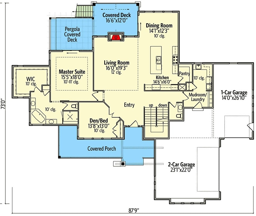 Main level floor plan of a two-story 5-bedroom craftsman mountain home with front and rear porches, foyer, living room, dining area, kitchen, primary suite, flexible den/bedroom, and a combined mudroom and laundry room leading to the oversized garage.