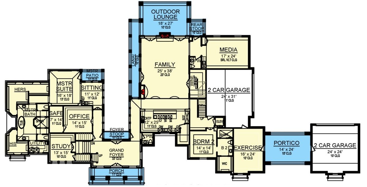 Main level floor plan of a two-story 5-bedroom Mediterranean home with grand foyer, study, office, family room, kitchen, exercise room, two bedrooms, and plenty of outdoor spaces.