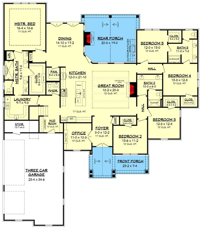 Main level floor plan of a two-story 6-bedroom craftsman home with front and rear porches, foyer, great room, kitchen, dining area, office, 5 bedrooms, laundry room, and a mudroom leading to the three-car garage.