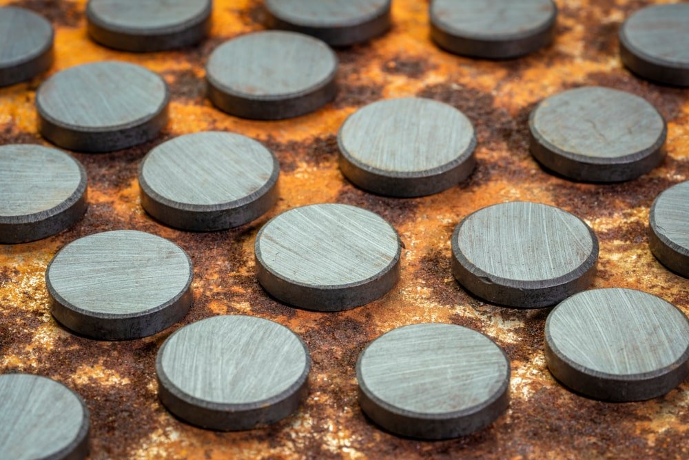 A close look at small round Ferrite Magnets.