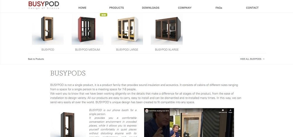 This is a screenshot of the BusyPod company homepage.