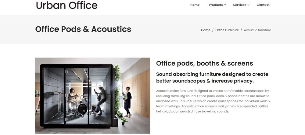 This is a screenshot of the Urban Office company homepage.