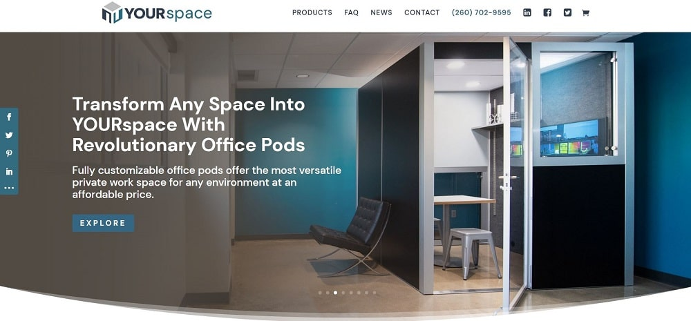 This is a screenshot of the YOURspace company homepage.