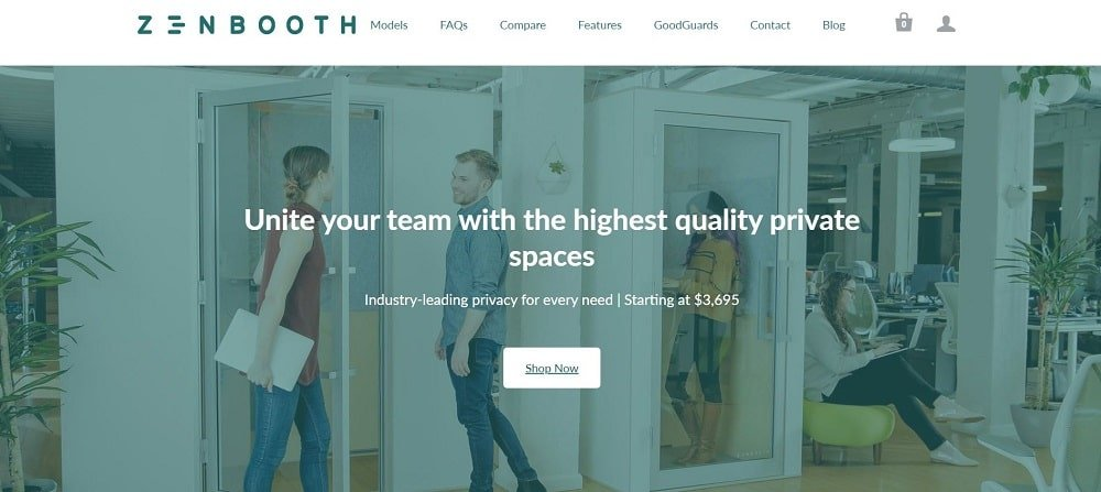 This is a screenshot of the Zenbooth company homepage.