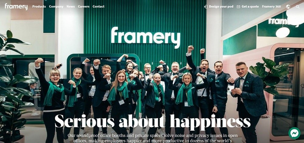 This is a screenshot of the framery company homepage.