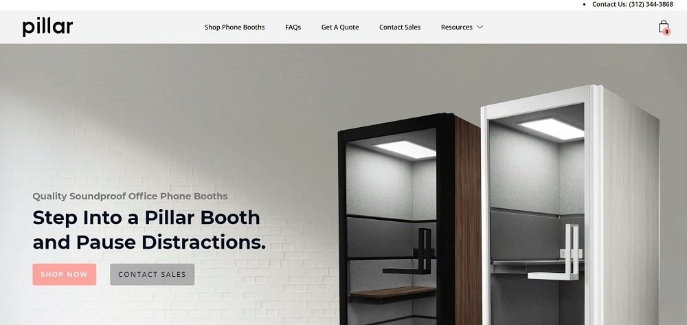 This is a screenshot of the pillar company homepage.