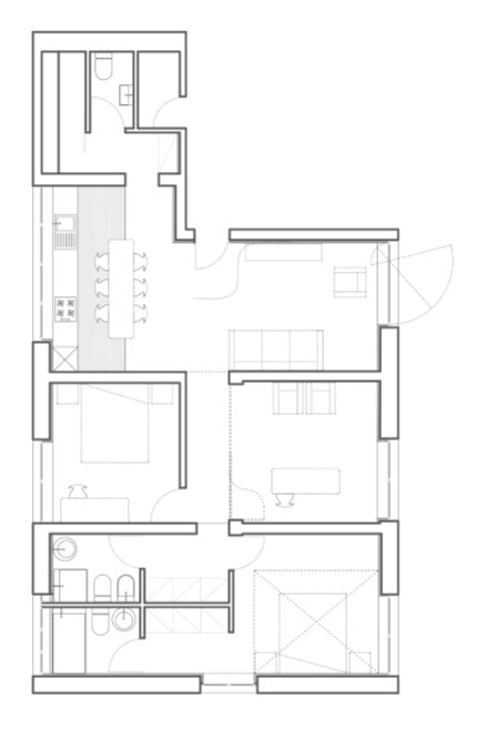 This is an illustration of the floor plan after renovation.