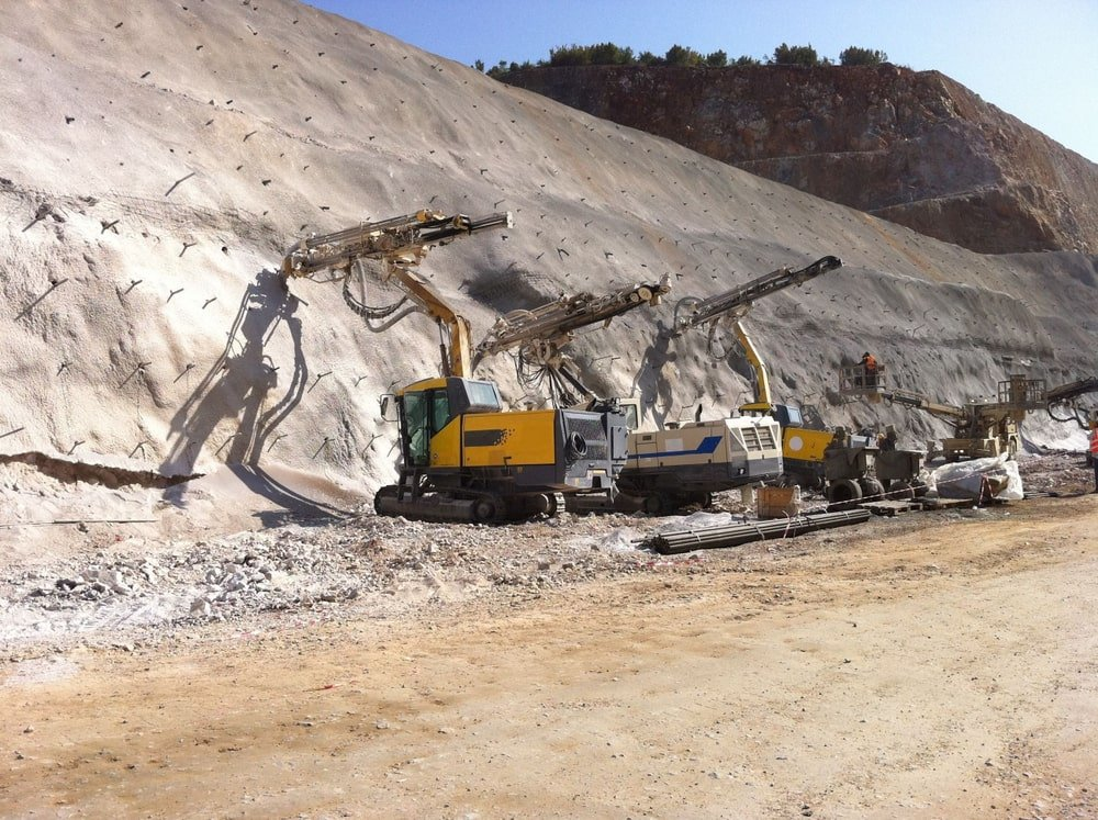 Drilling and blasting works during a road construction project