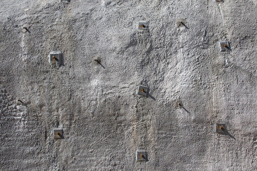 Sprayed concrete stabilized with rock bolts.