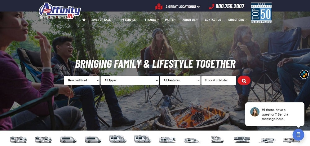 A screenshot of the Affinity RV website.