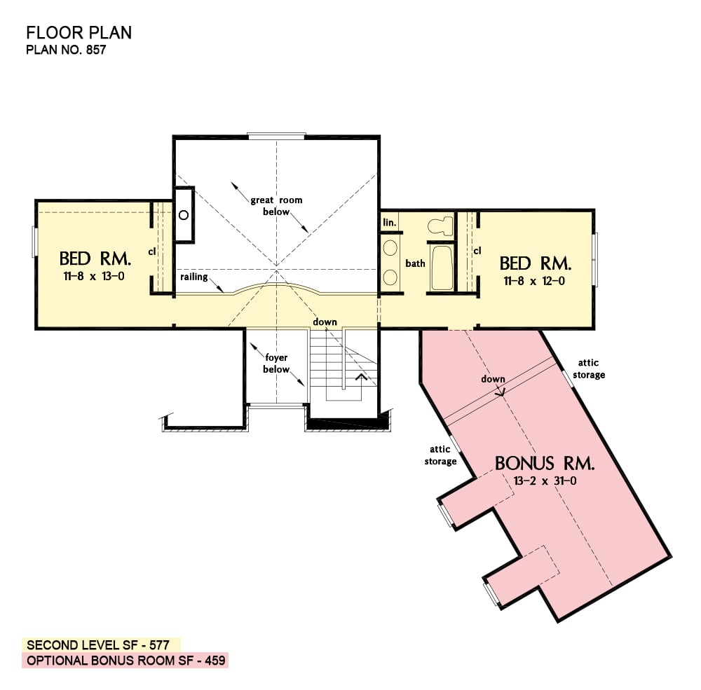 Second level floor plan with two bedrooms and an oversized bonus room above the garage.