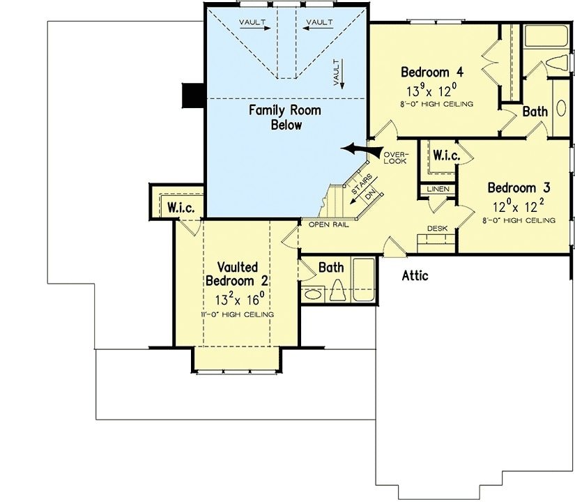 Second level floor plan with three bedrooms, two baths, and an open loft.