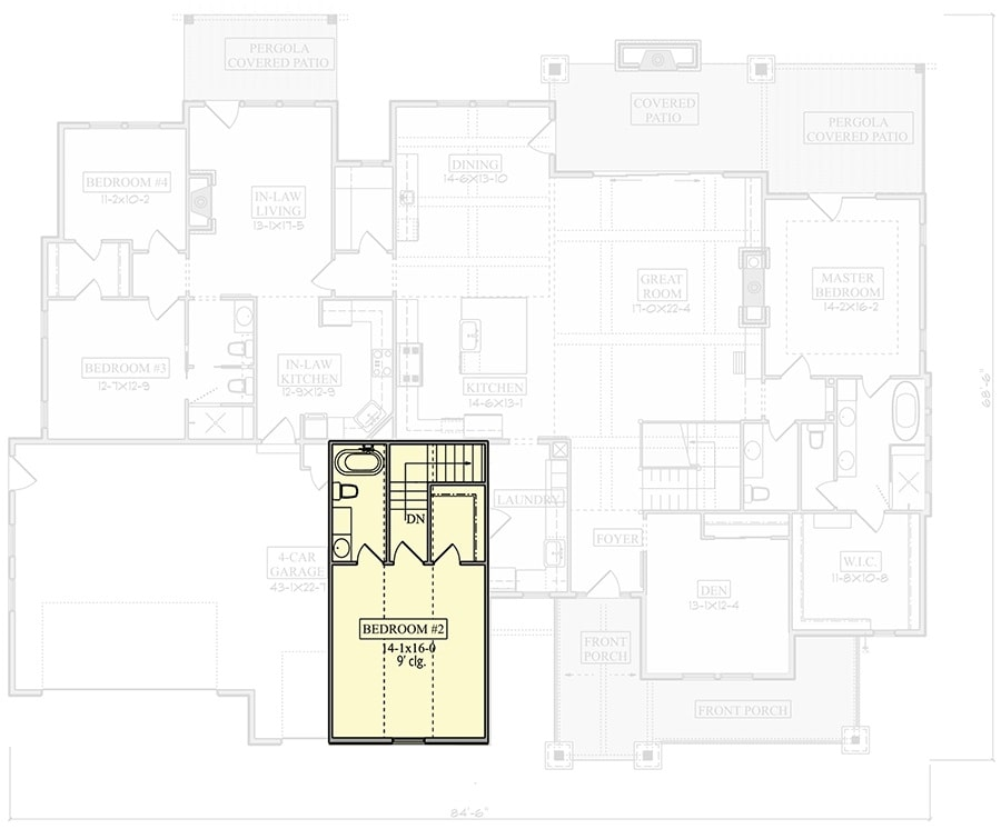 Second level floor plan with a bedroom and a full bath.