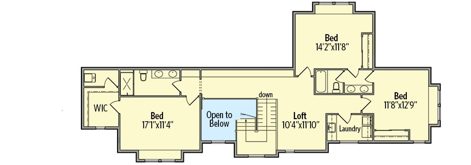 Second level floor plan with three bedrooms, two bathrooms, and a loft.